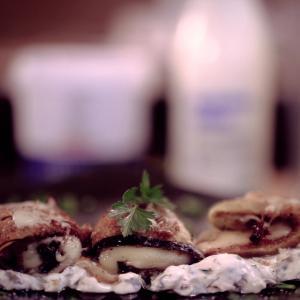 Eggplant rolls with yogurt and avocado